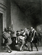 Henry IV, King of France and Navarre (1553-1610) First Bourbon monarch; son of Jeanne d'Albret and husband of Marie de Medici. Assassinated by Roman Catholic fanatic Ravaillac.  Henry's body being carried into the Louvre. 19th century lithograph.