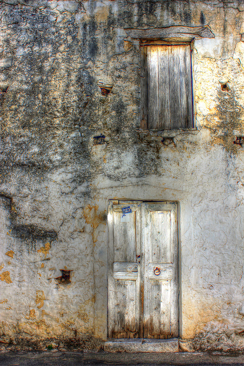 Crumbling wall.<br /> In Krasi, Crete. Greece
