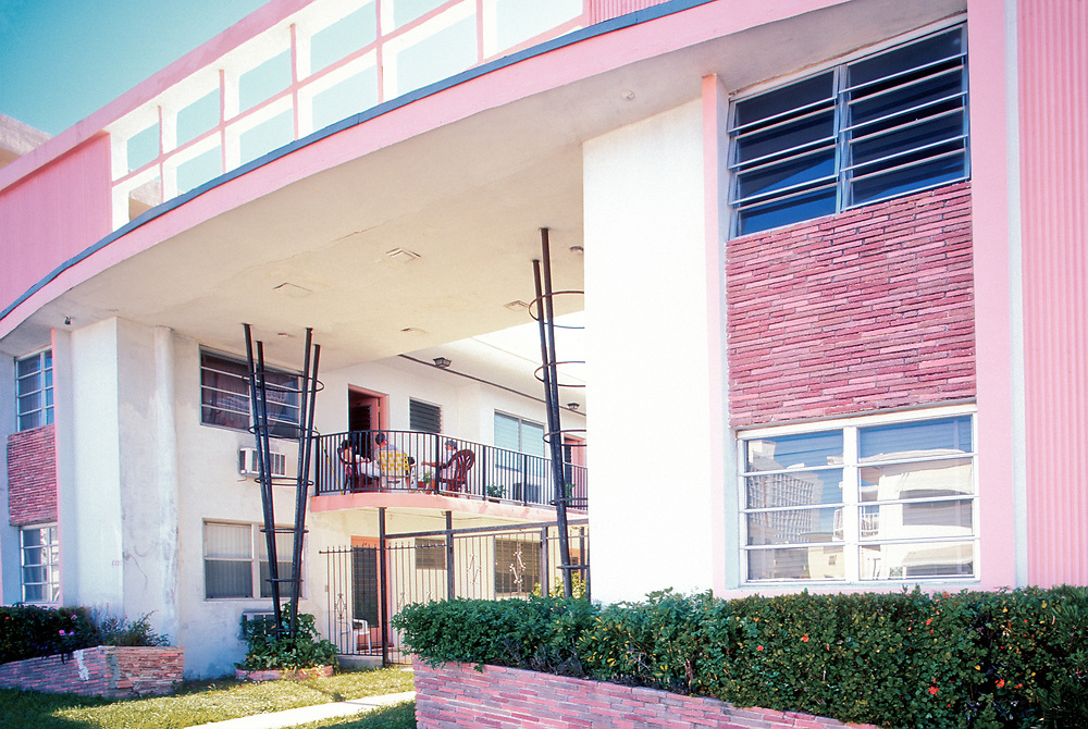 A Miami Modern (MiMo) style apartment building in the North Beach section of Miami Beach. Historic preservationists are trying to protect buildings constructed in the 1950s and '60s in this flamboyant, space-age style. This photograph was made in July 1999.