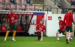 LEUVEN, BELGIUM - Wednesday, March 24, 2021: Wales' captain Gareth Bale (R) and his Tottenham Hotspur team-mate Joe Rodon during the pre-match warm-up before FIFA World Cup Qatar 2022 European Qualifying Group E game between Belgium and Wales at the King Power Den dreef Stadium. Belgium won 3-1. (Pic by Vincent Van Doornick/Isosport/Propaganda)