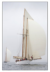 Altair 1931 Schooner with Mariette  astern...Sunday race from Largs to Rhu started damp but briefly lifted for a downwind race to the upper Clyde...* The Fife Yachts are one of the world's most prestigious group of Classic .yachts and this will be the third private regatta following the success of the 98, .and 03 events.  .A pilgrimage to their birthplace of these historic yachts, the 'Stradivarius' of .sail, from Scotland's pre-eminent yacht designer and builder, William Fife III, .on the Clyde 20th -27th June.   . ..More information is available on the website: www.fiferegatta.com . .Press office contact: 01475 689100         Lynda Melvin or Paul Jeffes