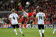 Gareth Bale of Wales © tries an overhead kick at goal but just misses late in the match. Wales v Austria , FIFA World Cup qualifier , European group D match at the Cardiff city Stadium in Cardiff , South Wales on Saturday 2nd September 2017. pic by Andrew Orchard, Andrew Orchard sports photography