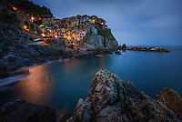 Aerial view of Manarola during the night, Italy