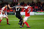 Wimbledon midfielder Andy Barcham (17) scores a goal to make the score 0-1 during the The FA Cup 3rd round match between Fleetwood Town and AFC Wimbledon at the Highbury Stadium, Fleetwood, England on 5 January 2019.