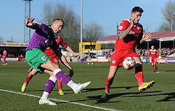 Bristol City's Aaron Wilbraham gets the ball into the box under pressure from Crawley's Sonny Bradley - Photo mandatory by-line: Dougie Allward/JMP - Mobile: 07966 386802 - 07/03/2015 - SPORT - Football - Crawley - Broadfield Stadium - Crawley Town v Bristol City - Sky Bet League One