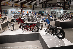 """Josh Sheehan's Buzzard's Luck (L) Harley-Davidson 1947 45 cu in flathead lower end with a 1953 K Model top end and Kevin Teach Baas'1938 ULH 80"""" Harley-Davidson custom in the What's the Skinny Exhibition (2019 iteration of the Motorcycles as Art annual series) at the Sturgis Buffalo Chip during the Sturgis Black Hills Motorcycle Rally. SD, USA. Thursday, August 8, 2019. Photography ©2019 Michael Lichter."""