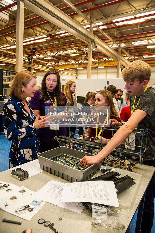 Pictured: The Minister met pupils Alana Mackay and Oliver Tappie as they built a bridge. <br /> Minister for Higher Education, Shirley-Anne Somerville ,MSP, visited Heriot-Watt universiry today and met S5 and S6 pupils from Edinburgh, Forth Valley, Fife and the Lothians taking part in a week of activities to give them an idea what life at a university might be like.<br /> Ger Harley   EEm 26 July  2017
