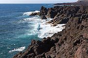 Rocky coastline near Los Hervideros, Lanzarote, Canary Islands, Spain