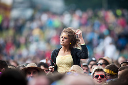 Fans of the American rock band Blondie, play on the main stage.Rockness, Sunday 13th June..Pic ©2010 Michael Schofield. All Rights Reserved.