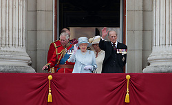(left to right) The Prince of Wales, Queen Elizabeth II, The Duchess of Cornwall and The Duke of Edinburgh on the balcony of Buckingham Palace, in central London, following the Trooping the Colour ceremony at Horse Guards Parade as the Queen celebrates her official birthday today.