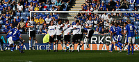 Photo: Steve Bond.<br />Leicester City v Derby County. Coca Cola Championship. 06/04/2007. Iain Hume (L) just fails wirh a free kick