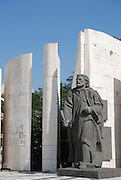 Bulgaria Bansko, The monument for Saint Paisius of Hilendar or Paisiy Hilendarski (1722-1773) was a Bulgarian clergyman and a key Bulgarian National Revival figure. He is most famous for being the author of Istoriya Slavyanobolgarskaya, the first work of Bulgarian historiography. Most Bulgarians think of him as the forefather of the Bulgarian National Revival