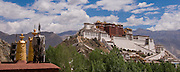 China, Tibet, Lhasa, view of Potala Palace from Palhalupuk temple roof top