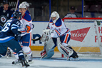 PENTICTON, CANADA - SEPTEMBER 9: Stuart Skinner #50 of Edmonton Oilers makes a glove save against the Winnipeg Jets on September 9, 2017 at the South Okanagan Event Centre in Penticton, British Columbia, Canada.  (Photo by Marissa Baecker/Shoot the Breeze)  *** Local Caption ***