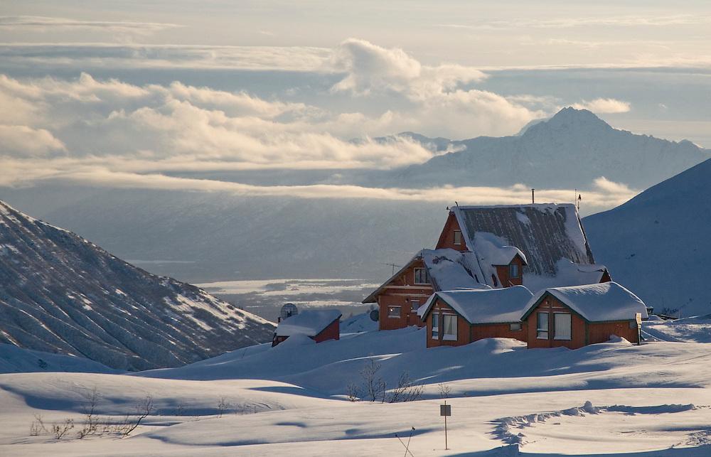 Alaska. Hatcher Pass Lodge in Winter.