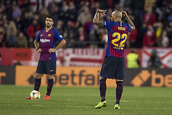 January 24, 2019 - Seville, Spain - ARTURO VIDAL of Barcelona laments after missing Sevilla scores for 2-0 during the King's Cup quarter-final first leg soccer match between Sevilla FC and FC Barcelona at Sanchez Pizjuan Stadium (Credit Image: © Daniel Gonzalez Acuna/ZUMA Wire)