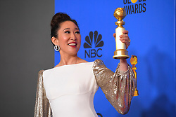 January 6, 2019 - Los Angeles, California, U.S. - Sandra Oh in the Press Room during the 76th Annual Golden Globe Awards at The Beverly Hilton Hotel. (Credit Image: © Kevin Sullivan via ZUMA Wire)