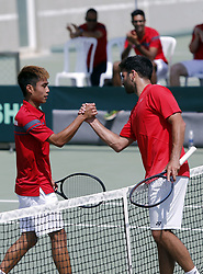BEIRUT, April 7, 2018  Wong Hong Kit (L) of China's Hong Kong shakes hands with Benjamin Hassan of Lebanon after a game of Asia/Oceania group of the Davis Cup in Beirut, Lebanon, on April, 7, 2018. (Xinhwa/Bilal Jawich) (Credit Image: © Bilal Jawich/Xinhua via ZUMA Wire)
