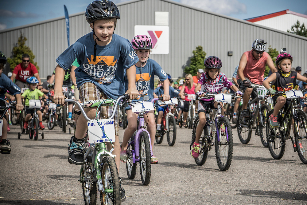 The childrens' races at the Ore to Shore Mountain Bike Epic in Marquette, Michigan.