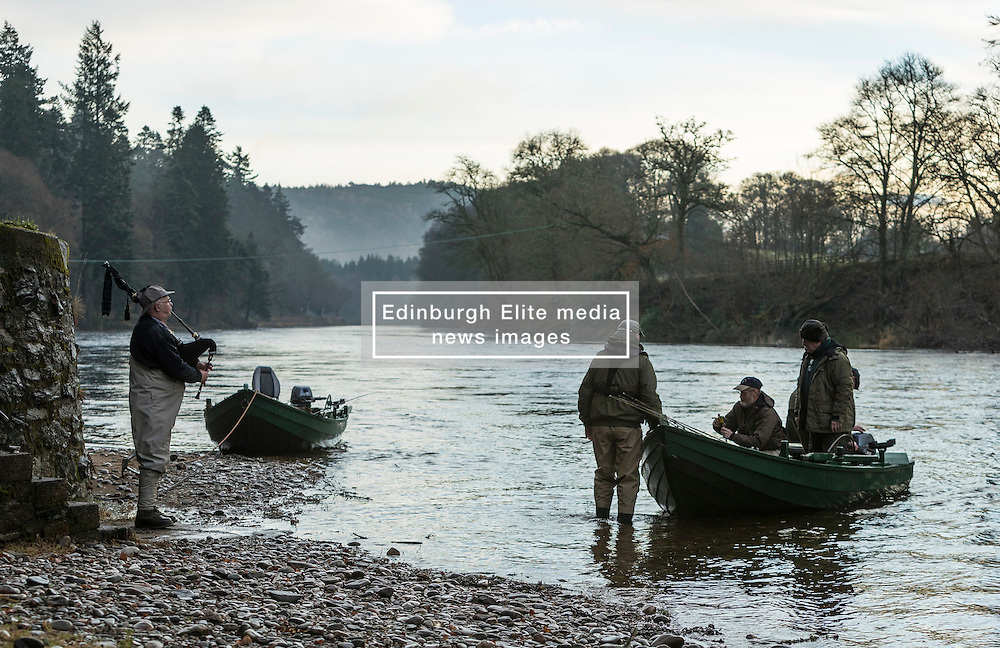 The Salmon Fishing season on the River Tay opened today.  A small group in Dunkeld  toasted the season before heading onto the banks and into boats.<br /> <br /> Pictured: Piper John Cranston gives anglers from Dunkeld House & Delvine Burnbane Fishings a musical lift as they leave on the opening day of the salmon season