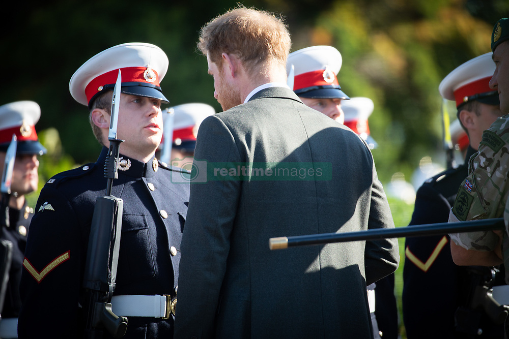 Prince Harry, the Duke of Sussex, is seen arriving at Commando Training Centre Royal Marines, Lympstone. The Duke arrived at the centre in a  Royal Navy Wildcat Marine Attack Helicopter<br /><br />13 September 2018.<br /><br />Please byline: Vantagenews.com/UprightPR