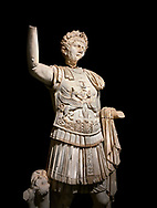 Roman statue of Emperor Trajan . Marble. Perge. 2nd century AD. Inv no . Antalya Archaeology Museum; Turkey. Against a black background. .<br /> <br /> If you prefer to buy from our ALAMY STOCK LIBRARY page at https://www.alamy.com/portfolio/paul-williams-funkystock/greco-roman-sculptures.html . Type -    Antalya     - into LOWER SEARCH WITHIN GALLERY box - Refine search by adding a subject, place, background colour, museum etc.<br /> <br /> Visit our ROMAN WORLD PHOTO COLLECTIONS for more photos to download or buy as wall art prints https://funkystock.photoshelter.com/gallery-collection/The-Romans-Art-Artefacts-Antiquities-Historic-Sites-Pictures-Images/C0000r2uLJJo9_s0