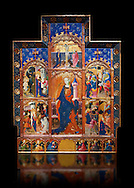 Gothic painted Panel Altarpiece of Saint Barbara by Goncal Peris Sarria. Tempera and gold leaf on wood. Date Circa 1410-1425. Dimesions 278 x 207.7 x 17 cm. At the beginning of the 20th century, the altarpiece was kept in the parish church of Puertomingalvo (Teruel), but it could originally have come from the chapel of Santa Bárbara near this town. This altarpiece is attributed to the painter Gonçal Peris Sarrià, one of the chief representatives of Valencian International Gothic. His style is marked by expressive and picturesque elements, the flowing line and the charm of the colour. The main compartment of the altarpiece represents the titular saint with her distinctive attributes –the tower, in allusion to her imprisonment, and the palm, as she is considered a martyr-- and above her the Calvary. On either side are depicted various episodes from the life of Saint Barbara, who was called on to keep away lightning and storms. . National Museum of Catalan Art, Barcelona, Spain, inv no: 035672-CJT .<br /> <br /> If you prefer you can also buy from our ALAMY PHOTO LIBRARY  Collection visit : https://www.alamy.com/portfolio/paul-williams-funkystock/gothic-art-antiquities.html  Type -     MANAC    - into the LOWER SEARCH WITHIN GALLERY box. Refine search by adding background colour, place, museum etc<br /> <br /> Visit our MEDIEVAL GOTHIC ART PHOTO COLLECTIONS for more   photos  to download or buy as prints https://funkystock.photoshelter.com/gallery-collection/Medieval-Gothic-Art-Antiquities-Historic-Sites-Pictures-Images-of/C0000gZ8POl_DCqE