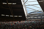 a general view of a section of the crowd. Rugby World Cup 2015 pool match, Ireland v Canada at the Millennium Stadium in Cardiff, South Wales  on Saturday 19th September 2015.<br /> pic by  Andrew Orchard, Andrew Orchard sports photography.