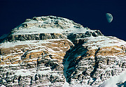 Moonrise over West ridge & top of Hornbein couloir, three tiny red dots can be seen if image blown up....Australian climbers nearing summit 1984 White Limbo route