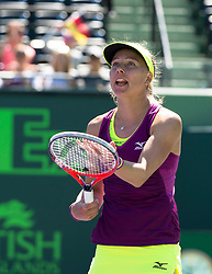 March 22, 2018 - Key Biscayne, FL, U.S. - KEY BISCAYNE, FL - MARCH 22: Johanna Larsson (SWE) screams in frustration on March 22, 2018, at the Tennis Center at Crandon Park in Key Biscayne, FL. (Photo by Andrew Patron/Icon Sportswire) (Credit Image: © Andrew Patron/Icon SMI via ZUMA Press)