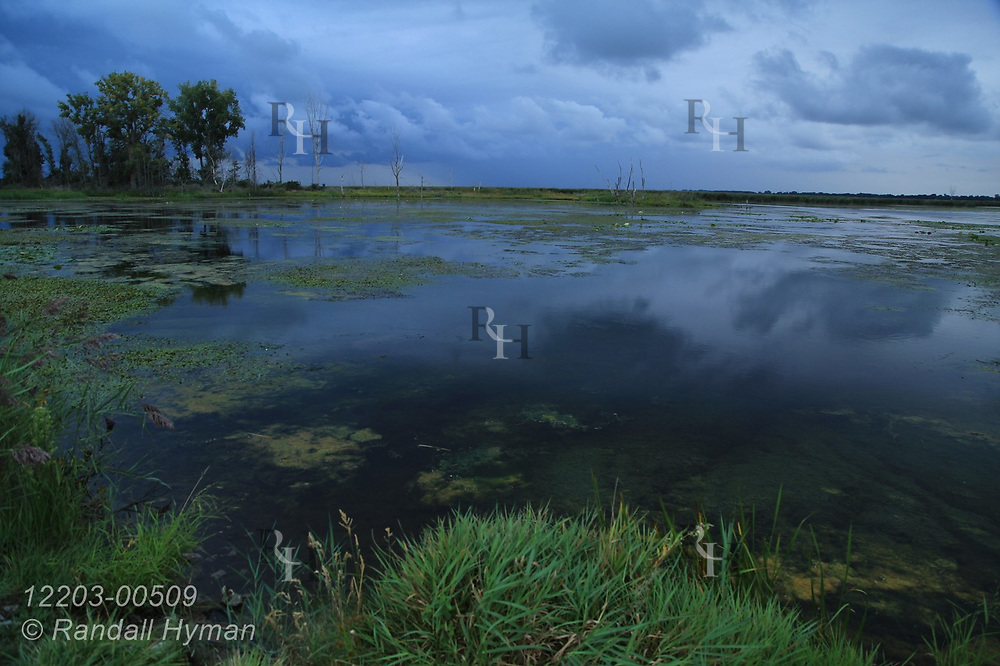 Storm clouds hang over marshy bay in Nayanquing Point State Wildlife Area on Lake Huron north of Bay City, Michigan.