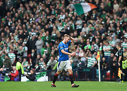 Rangers Ross McCrorie walks off dejected after being shown a red card during the William Hill Scottish Cup semi final match at Hampden Park, Glasgow.