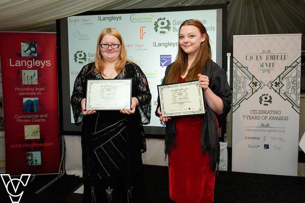 Gainsborough Business Awards 2016 - Apprentice of the Year sponsored by Gainsborough College.  Finalists Zara Elizabeth Burman of Lea Wood Cattery and Tanisha Walker of Allsop Commercial Services.<br /> <br /> Gainsborough Business Awards 2016, held at the White Heather, Caenby Corner, near Gainsborough.<br /> <br /> Picture: Chris Vaughan/Chris Vaughan Photography<br /> Date: September 22, 2016
