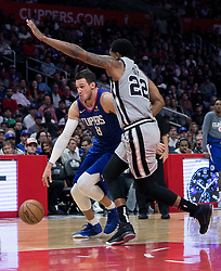 November 15, 2018 - Los Angeles, California, U.S - Danilo Gallinari #8 of the Los Angeles Clippers drives past Rudy Gay #22 of the San Antonio Spurs during their NBA game on Thursday November 15, 2018 at the Staples Center in Los Angeles, California. Clippers defeat Spurs, 116-111. (Credit Image: © Prensa Internacional via ZUMA Wire)