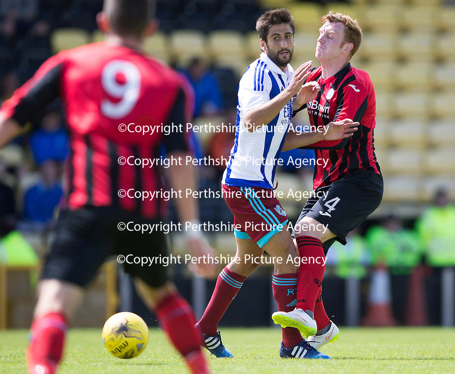 St Johnstone v Real Sociedad...12.07.15  Bayview, Methil (Home of East Fife FC)<br /> Liam Craig back in a saints shirt appearing as a trialist pictured with Markel Bergara<br /> Picture by Graeme Hart.<br /> Copyright Perthshire Picture Agency<br /> Tel: 01738 623350  Mobile: 07990 594431