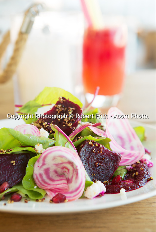 Beetroot salad: feta, chard, crispy quinoa, pomegranate dressing, Bib and Tucker Restaurant Perth Region