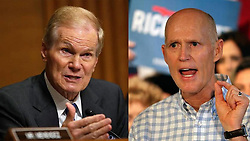 November 19, 2018 - Miami, FL, USA - El senador demócrata Bill Nelson (izq.) y el gobernador republicano Rick Scott. (Credit Image: © Miami Herald/TNS via ZUMA Wire)