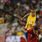 FOXBOROUGH, MASSACHUSETTS - JUNE 12:  Miranda #3 of Brazil heads clear while challenged by Jose Paolo Guerrero #9 of Peru in action during the Brazil Vs Peru Group B match of the Copa America Centenario USA 2016 Tournament at Gillette Stadium on June 12, 2016 in Foxborough, Massachusetts. (Photo by Tim Clayton/Corbis via Getty Images)