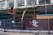 Old building on New Street in the city centre has its concrete awning torn down on 18th January 2020 in Birmingham, United Kingdom.