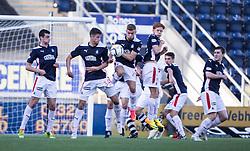 Falkirk's wall.<br /> Falkirk 1v 1 Dumbarton, Scottish Championship game played 20/9/2014 at The Falkirk Stadium .