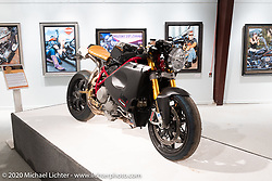 Nicola Martini's Ducati Flash Back America cafe racer from Special Mr Martini in Verona, Italy on display in the Heavy Mettle - Motorcycles and Art with Moxie exhibition at the Sturgis Buffalo Chip. This is the 2020 iteration of the annual Motorcycles as Art series curated and produced by Michael Lichter. Sturgis, SD, USA. Friday, August 7, 2020. Photography ©2020 Michael Lichter.
