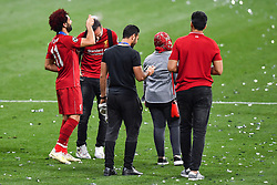 June 2, 2019 - Madrid, Spain - 190601 Mohamed Salah of Liverpool celebrates with hair spray after the UEFA Champions League final between Tottenham and Liverpool on June 1, 2019 in Madrid..Photo: Petter Arvidson / BILDBYRÃ…N / kod PA / 92302 (Credit Image: © Petter Arvidson/Bildbyran via ZUMA Press)