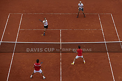 April 7, 2018 - Valencia, Valencia, Spain - Feliciano Lopez (L in red) and Marc Lopez (R in red) of Spain in action in their doubles match against Tim Putz (L in white) and Jan-Lennard Struff of Germany during day two of the Davis Cup World Group Quarter Finals match between Spain and Germany at Plaza de Toros de Valencia on April 7, 2018 in Valencia, Spain  (Credit Image: © David Aliaga/NurPhoto via ZUMA Press)