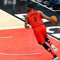 18 March 2018: Portland Trail Blazers forward Maurice Harkless (4) brings the ball up court during the Portland Trail Blazers 122109 victory over the LA Clippers, at the Staples Center, Los Angeles, California, USA.
