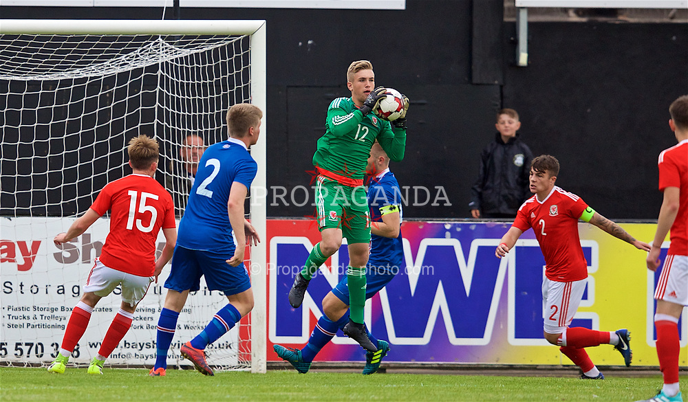 RHYL, WALES - Monday, September 4, 2017: Wales' goalkeeper George Ratcliffe during an Under-19 international friendly match between Wales and Iceland at Belle Vue. (Pic by Paul Greenwood/Propaganda)