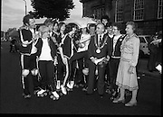 1980-08-15.15th August 1980.15/08/1980.08-15-80..Photographed outside Kilmainham Jail, Dublin...Members of the Roller All Star Hockey Club assemble before setting out on the non-stop roller skating marathon. Along the route from Dublin to Cork money will be raised in each town passed though. The proceeds will go to the Central Remedial Clinic. At Cork the city's Lord Mayor, Toddy O'Sullivan will meet and greet them. ..Dublin Lord Mayor, Fergus O'Brien joins them wearing the chain of office.On the far right of the group shot is Senator Lady Valerie Goulding, Chairperson and managing Director of the Central Remedial Clinic..