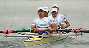 Munich, GERMANY, 29.08.2007, GBR LM4-, Bow, Richard CHAMBERS, James LINDSSY-FYNN, Paul MATTICK and James CLARKE, move away from the start in their semi-final on the  Fourth day, at the 2007 World Rowing Championships, taking place on the   Munich Olympic Regatta Course, Bavaria. [Mandatory Credit. Peter Spurrier/Intersport Images]..... , Rowing Course, Olympic Regatta Rowing Course, Munich, GERMANY