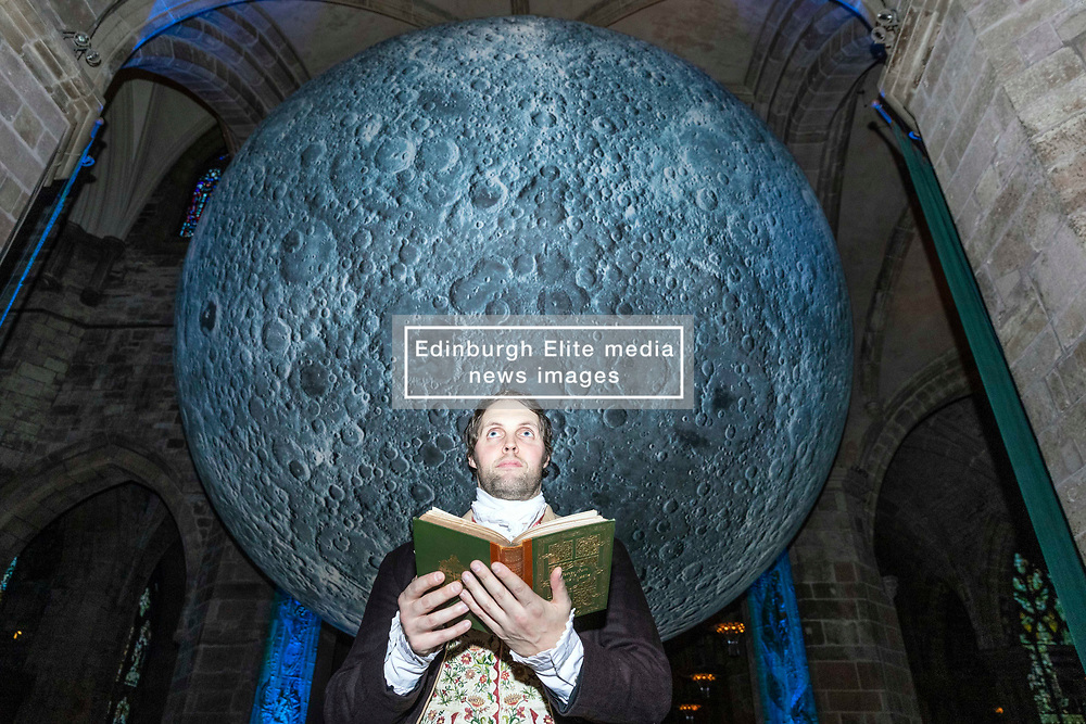 Luke Jerram's 7 metre wide installation, The Museum of the Moon goes on display at St Giles Cathedral in Edinburgh. The installation is part of the Burns & Beyond Festival which runs from 22 - 27 January in multiple venues across Edinburgh