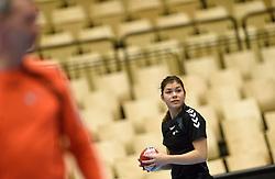 19-12-2015 DEN: World Championships Handball 2015 Training Oranje, Herning<br /> Na een rustige training werd er een persmoment gehouden / Martine Smeets