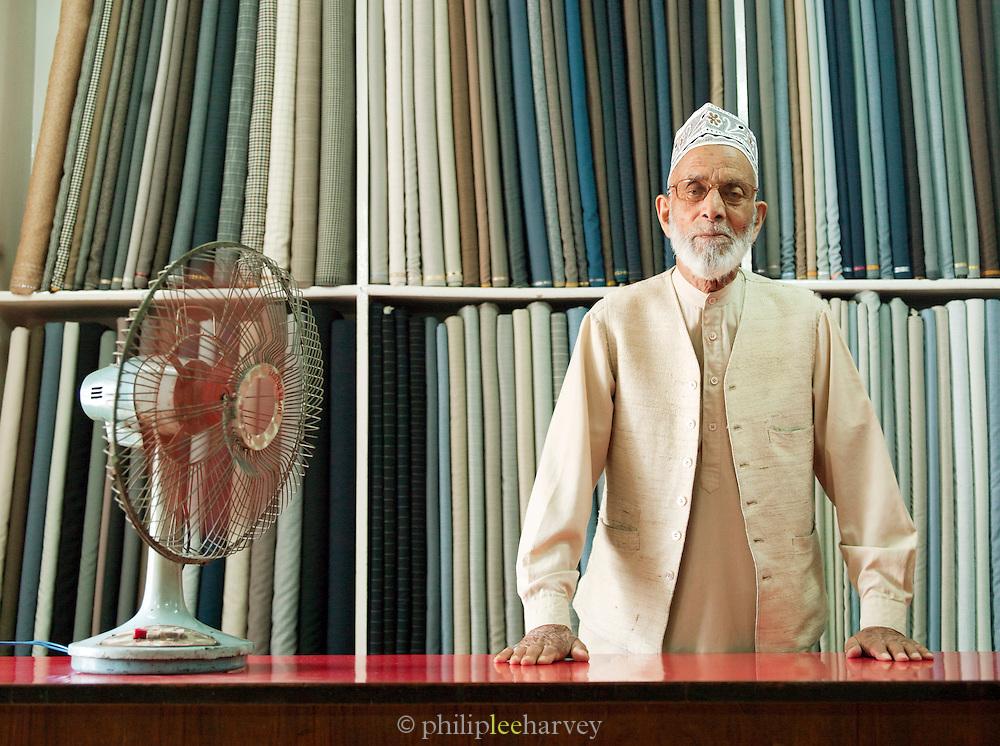 Tailor Tom, a local tailor in Srinigar, Kashmir, India